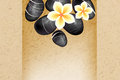 Spa background with stones and frangipani flowers Stock Images
