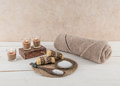 Spa and bath essentials soothing earth tones including handmade artisan soap body scrub in Stock Photography
