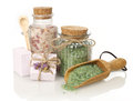 Spa bath salts and soap Royalty Free Stock Photo