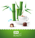 Spa and beauty background with tea cup bamboo Stock Images
