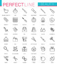 Spa Beauty and cosmetic thin line web icons set. Outline stroke icon design. Royalty Free Stock Photo