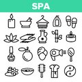 Spa Beauty Service Linear Vector Icons Set