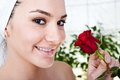 Spa beauty woman in salon with rose Royalty Free Stock Images