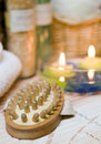 Spa brush and candles Royalty Free Stock Image