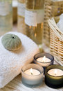 Spa candles composition Royalty Free Stock Photo