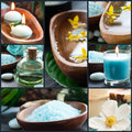 Spa collage in blue Royalty Free Stock Photos