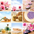 A spa collage of many images with flowers Royalty Free Stock Photos