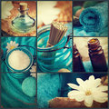 Spa collage series made of five images floral water bath salt candles and towel Stock Photo