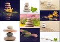 Spa collection, collage of balancing zen pebble stones Royalty Free Stock Photo