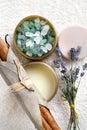 Spa composition with bath salt, moisturizer, round