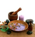 Spa composition of bath salt, stones and bottle on Royalty Free Stock Photo