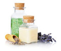 Spa composition with lavender and sea salt on white background Royalty Free Stock Photography