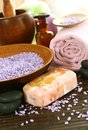 Spa composition of soap, bath salt, stones and tow Royalty Free Stock Photo