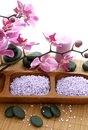 Spa composition of stones, bath salt and orchid Royalty Free Stock Photo