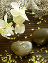 Spa composition of stones, bath salts and orchid f Stock Images