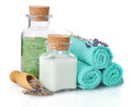 Spa composition with towels lavender and sea salt on white background Royalty Free Stock Photos