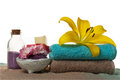 Spa Concept. Closeup of beautiful Spa Products with place for te
