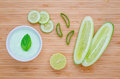 Spa concept, Homemade skin care and body scrub with natural ingredients aloe vera ,lemon and cucumber set up on on wooden