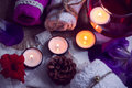 SPA consist from towels, candles, flowers, cone and aromatherapy water in a glass bowl Royalty Free Stock Photo