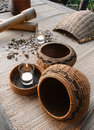 Spa decor of spices and rattan baskets Royalty Free Stock Photo