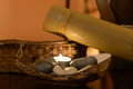 Spa element consisting of stones candle and bamboo Royalty Free Stock Photography