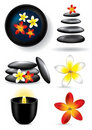 Spa elements - candle, flower, stones Royalty Free Stock Image