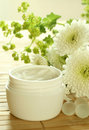 Spa essentials. Cream and flowers. Royalty Free Stock Photo