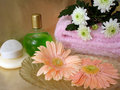 Spa essentials (soap, bottle of shampoo and towel with flowers) Stock Photos