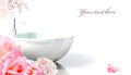 spa bathtub with pink flowers