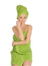 Spa Girl. Beautiful Young Woman After Bath with green towel. isolated on white Stock Photo