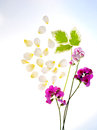 Spa green and white leaves with yellow rose petal and sweet peas on blue gradient vertical Stock Image