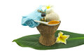 Spa herbal compressing ball , white frangipani flower on white background. Royalty Free Stock Photo