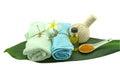 Spa herbal compressing ball , white frangipani flowers on white background. Royalty Free Stock Photo