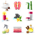 Spa icons bright highly detailed set Stock Photos