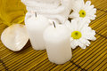 Spa items on bamboo Royalty Free Stock Photo