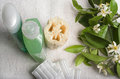 Spa items with orange blossoms Stock Photo