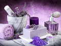 Spa lavender products Royalty Free Stock Photo