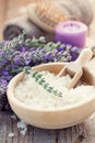 Spa with lavender and towel Royalty Free Stock Photo