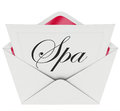 Spa letter invitation special offer relaxation treatment massage word on a note card or or to visit a sauna or business for or Royalty Free Stock Image