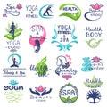 Spa logo vector beauty spa-center logotype lettering design with flower or leaf symbol illustration natural set of