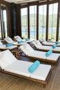 Spa luxury resort pool area Royalty Free Stock Photo