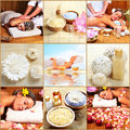 Spa massaga beautiful young woman getting massage Royalty Free Stock Photos