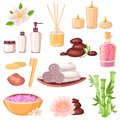 Spa massage and beauty salon icons set. Vector cartoon illustration. Body care and natural treatment concept