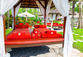 Spa massage bed with red towels Royalty Free Stock Images