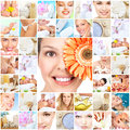 Spa massage collage background beautiful young women getting body care Stock Photography
