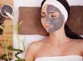 Spa Mud Mask. Woman in Spa Salon. Face Mask. Facial Clay Mask. Treatment Royalty Free Stock Photo