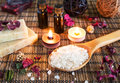 Spa with natural bath salt candles soap towels and petals Royalty Free Stock Photography