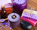 Spa objects on a table Royalty Free Stock Photos