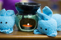 Spa oil lamps, folding cloth, spa massage room Royalty Free Stock Photo