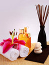 Spa Oils and Incense Sticks Royalty Free Stock Images